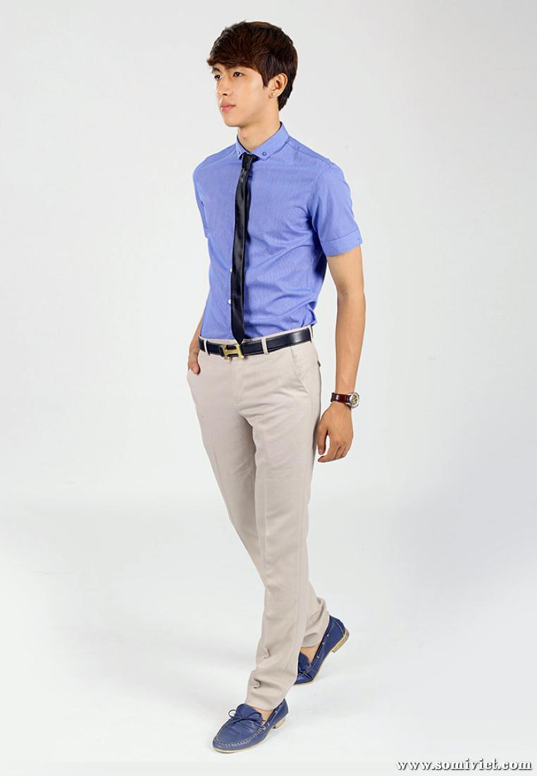 Mẫu đồng phục áo sơ mi nam ngắn tay công sở